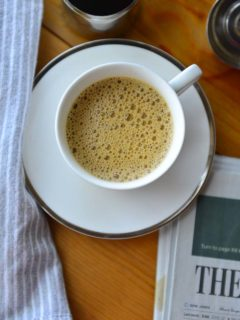 A warm cup of foamy South Indian Filter Coffee