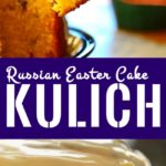 Image for Pinning - top half is a slice of kulich followed by caption and the bottom half is a closeup of Kulich