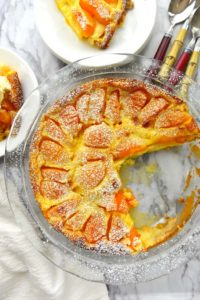 Apricot Clafoutis - a luscious custard cake dotted with apricots