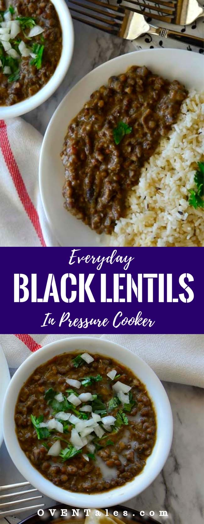 Everyday Black Lentils , Creamy , vegan and easy to make in pressure cooker