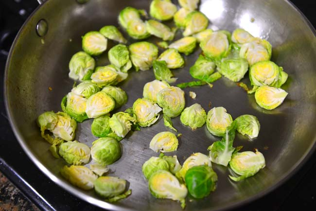 Saute brussels sprout cores