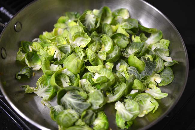 Saute the brussels sprout leaves