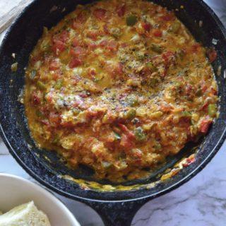 Menemen - Turkish egg scramble with tomatoes and eggs