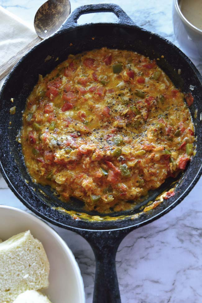 Menemen - Turkish egg scramble with tomatoes and eggs