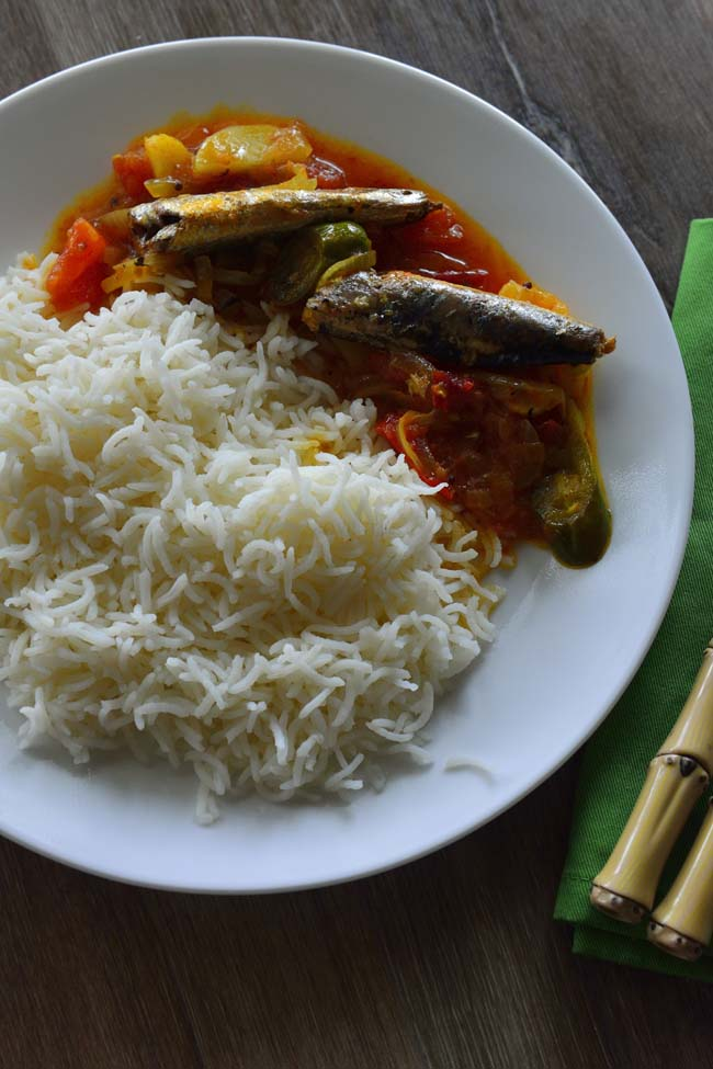 Sardine and Potato curry served with white rice - a happy meal