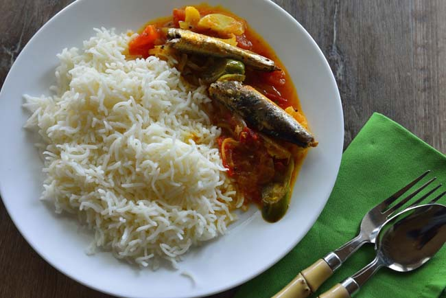 Sardine and potato curry served with white rice