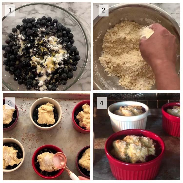 Four step illustration of making blueberry cobbler.