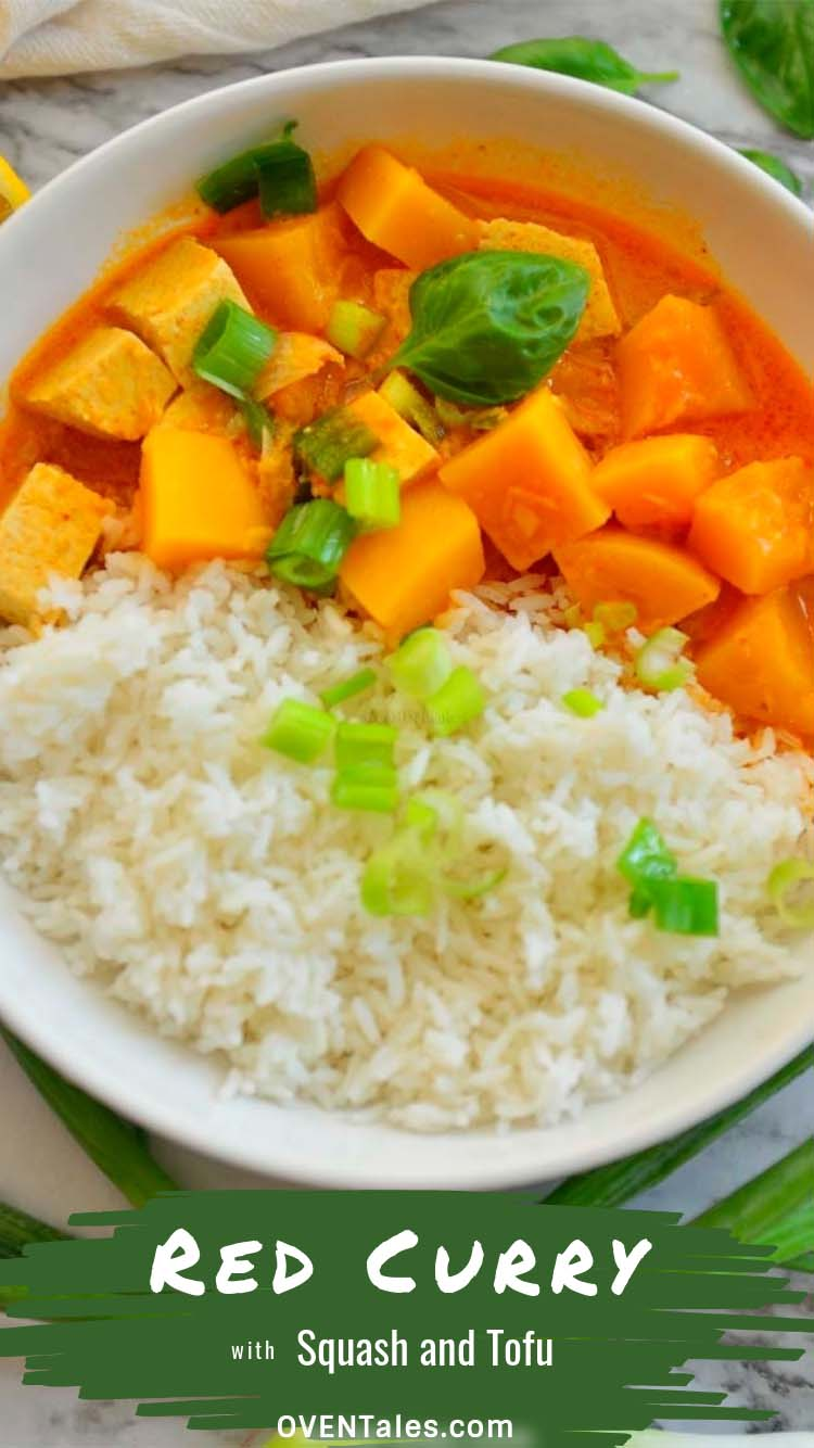 Pinnable image for Thai red curry with Butternut squash and Tofu