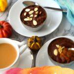 A bowl of pumpkin halva in a plate with caption - Pumpkin Halva.