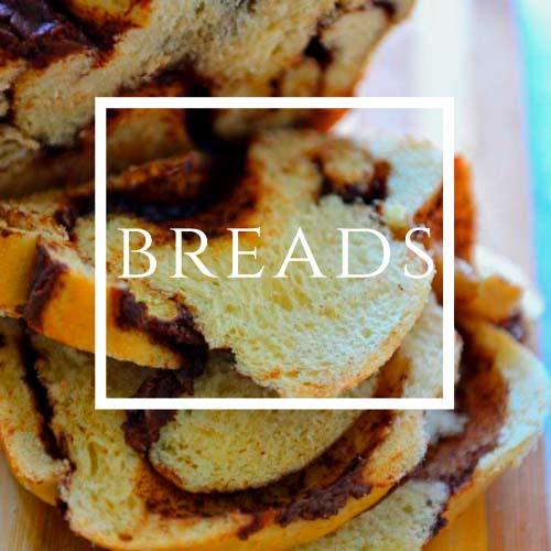 Breads written on an image of sliced bread