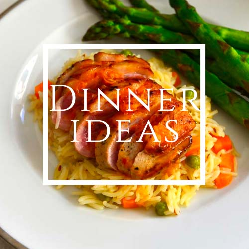 Dinner ideas written on a plate filled with food