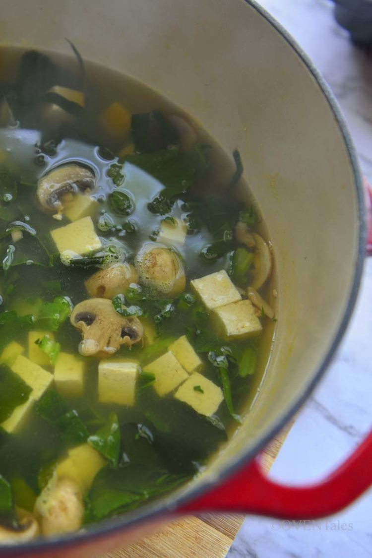 Miso soup in the pot