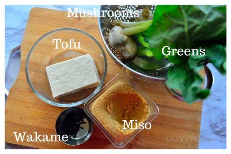 Ingredients for Miso soup Miso, wakame, tofu, mushrooms, greens all labelled