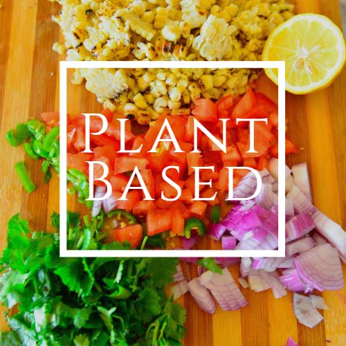 Plant based written on an image of chopped vegetables