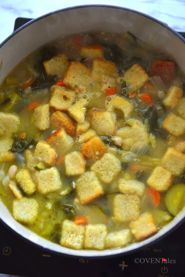 Cooking Ribollita in a soup pot