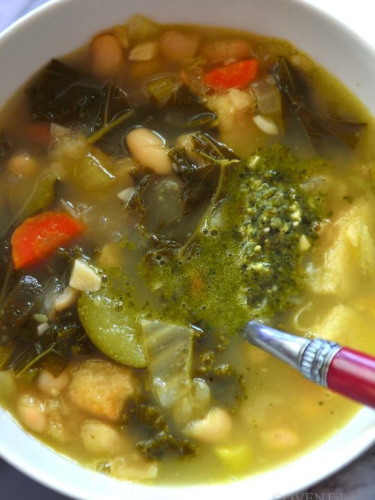 Ribollita is a white bowl with a spoon