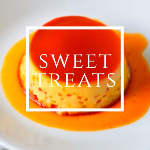 Sweet Treats written over an image of Flan on white background