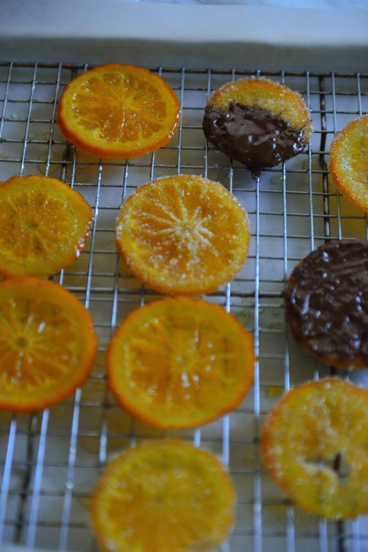 Candied orange slices some dipped in sugar and others dipped in chocolate resting on a cooling rack.