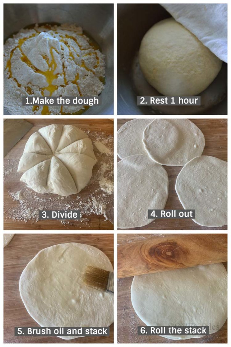 Collage of pictures illustrating the steps to making the crust for torta pasqualina.