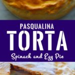 Torta Pasqualina unsliced on the top half and sliced on teh bottom half with caption - 'Pasqualina Torta -Spinach and egg pie'. Image for pinning.