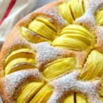 Image of cake for pinning with caption -Sunken apple cake.