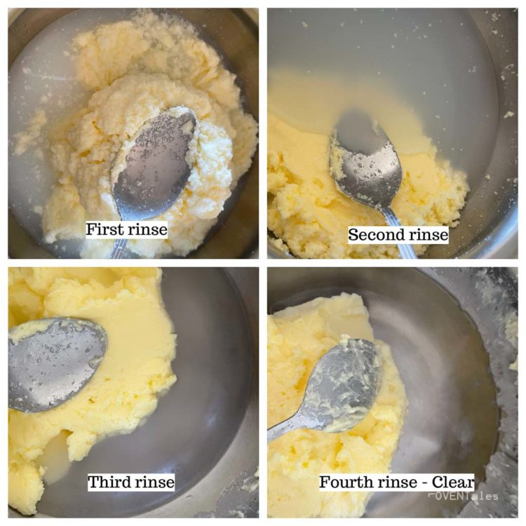 Collage showing the rinsing butter as the liquid turns from white to clear.