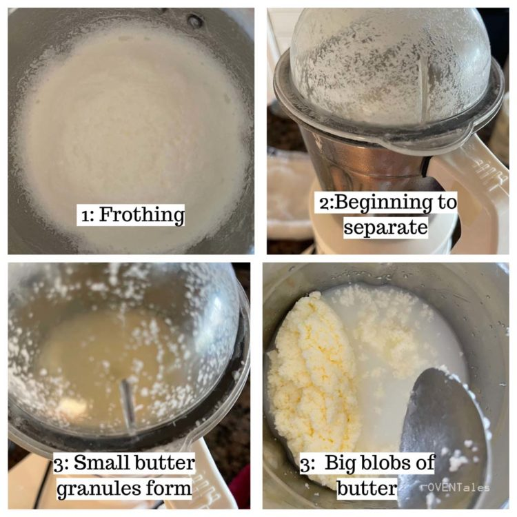 Steps indicating transformation of cream as it is shaken or churned.